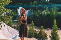 beautiful shamanic girl in the nature.