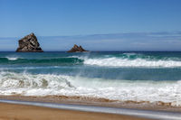 The pristine coastline at Sandfly Bay