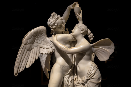 Cupid and Psyche (Amore e Psiche) - symbol of eternal love, by sculptor Giovanni Maria Benzoni