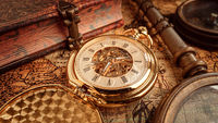 Vintage pocket watch. Vintage background Concept of time history.