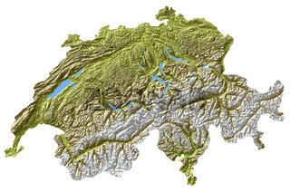 Schweiz - Topologische Relief Karte