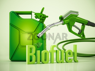 Biofuel word standing next to green gas tank and gas pump. 3D illustration