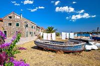 Colorful harbor and waterfront of Krapanj island,  sea sponge harvesting village