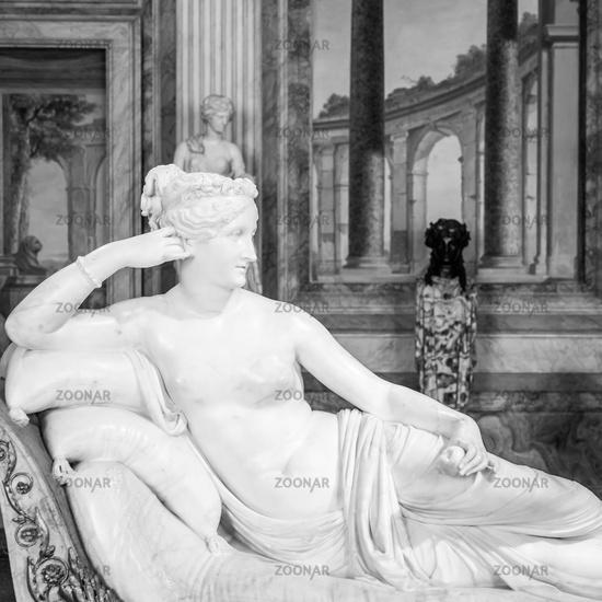 Classical statue of Pauline Bonaparte, made by Antonio Canova