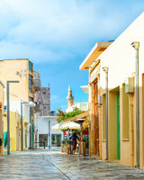 Shopping street mosque Paphos Cyprus