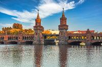 Berlin Germany, city skyline at Oberbaum Bridge and Berlin Metro