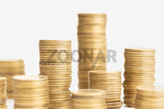 Pile of Coins on white background. Money or finance concept