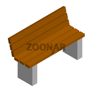 Simple brown city bench with backrest in isometric view isolated on white. Concrete base and wooden seat. Vector EPS10.