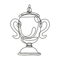Championship Cup or Champion Trophy Front View Continuous Line Drawing