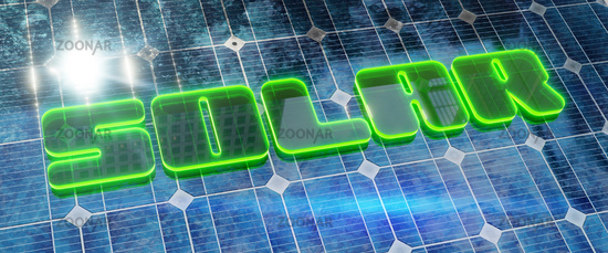 solar panel background with green glowing word solar.