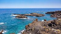 Rocky beach in La Palma island,