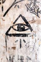 Illuminati logo on the wall
