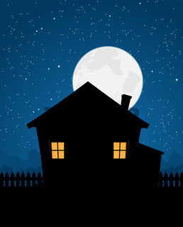 House Silhouette In Starry Night