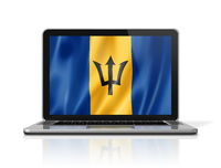 Barbados flag on laptop screen isolated on white. 3D illustration