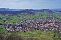 Landschaft mit Blick auf Nueffen beim der Ruine Hohenneuffen, Schwäbische Ab