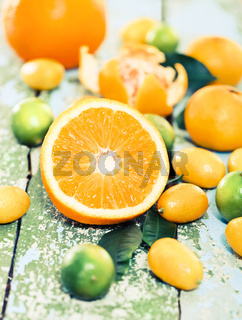 Fresh citrus fruits on the rustic table