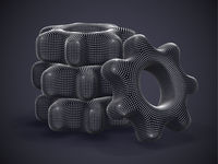 Stack of 3D gears made of gray dots