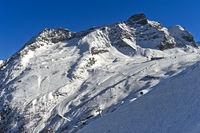 Morenia Skigebiet unter dem Egginer Gipfel, Saas-Fee, Wallis, Schweiz