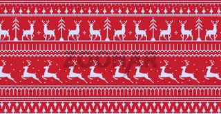 Christmas red panoramic background with drawings of deer and patterns of the holiday - Vector