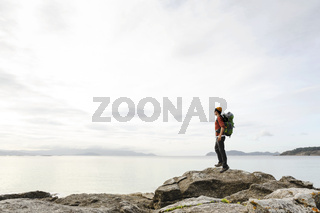 Man exploring the coast