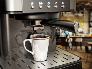 Coffee machine with a cup of fresh coffee. 3D illustration