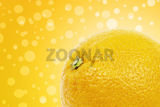 Orange on a yellow background with white circles