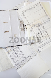 Architectural plans of the old paper and file with the project