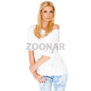 Trendy slim blond woman