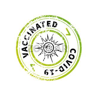 Vaccinated green vintage round grunge stamp imprint on white