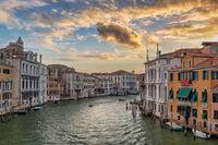 Venice Italy, sunrise city skyline at Venice Grand Canal, Veneto Italy
