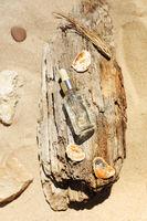 Essential oil on wood on beach