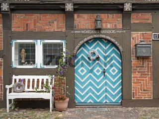 Historisches Materialienhaus in Wöhrden, Schleswig-Holstein, Deutschland, Europa