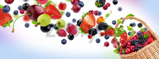 Fresh berries in basket isolated on white background