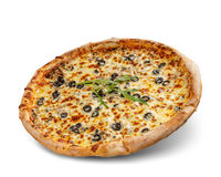 Pizza with cheese and tomato sauce isolated on white background. Deliciouse topping.