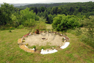 shamanism circle on a meadow