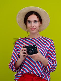 Portrait of beautiful female photographer close up
