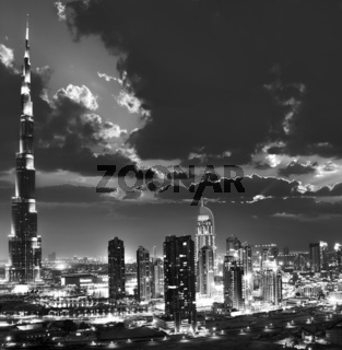 Dubai downtown at night, black and white picture