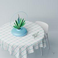 3D illustration, 3D rendering. Digital vase with bouquet of flowers.