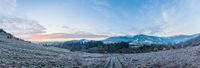 Autumn morning mountain panoramic view