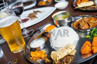 Traditional Nepali thali in restaurant
