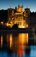 Notre Dame de Fourviere in Lyon illuminated