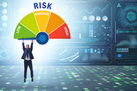 Businessman in risk metering and management concept