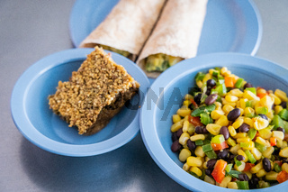 It's meal time in a canadian kindergarten