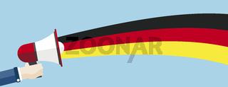 Hand Bullhorn Germany Flag Header