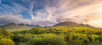 Amazing sunset at the foothill of Carrauntoohil mountain and MacGillycuddys Reeks mountains