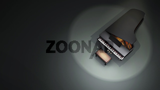 Top view music concept scene with a grand piano. A dark 3D illustration with copy space for text