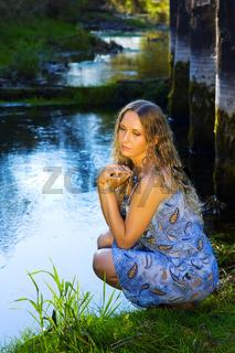 Beautiful woman relaxing on nature