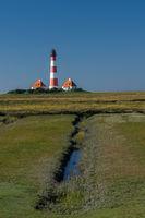 Leuchtturm Westerheversand, Westerhever, Eiderstedt, Nordfriesland, Schleswig-Holstein, Deutschland