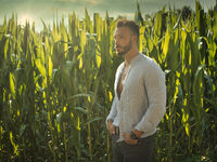 Bearded young man in corn field at sunset