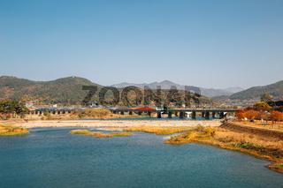 Miryang river and mountain at autumn in Miryang, Korea